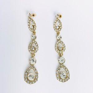 New!Vintage Crystal Rhinestones Statement Earrings